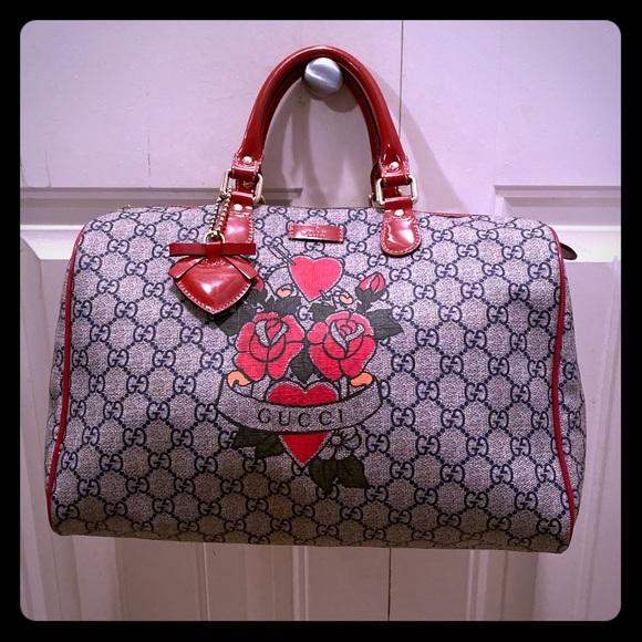 💯 Authentic Gucci Tattoo Heart Joy Boston Bag